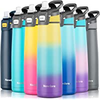 Newdora Botella de Agua de Acero Inoxidable Aislada al Vacío de Doble Pared con Pajita, Botella Termica Deportiva Grande…