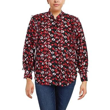 08490281 LAUREN RALPH LAUREN Womens Plus Floral Print Ruffled Button-Down Top Red 1X