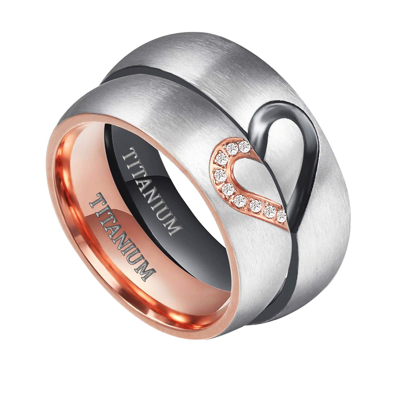TIGRADE Real Love HeartTitanium Wedding Bands Couple Engagement Rings CZ Inlaid (women's, 9.5)