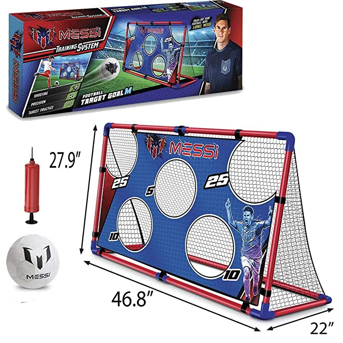 Amazon.com   Messi Training System Large Foldable Soccer Goal Includes Ball  Size 2 + Pump  f29426b047