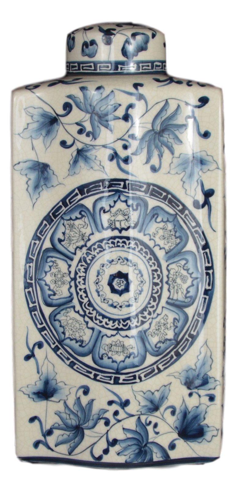 14'' Blue and White Porcelain Floral Long Flat Covered Jar Vase