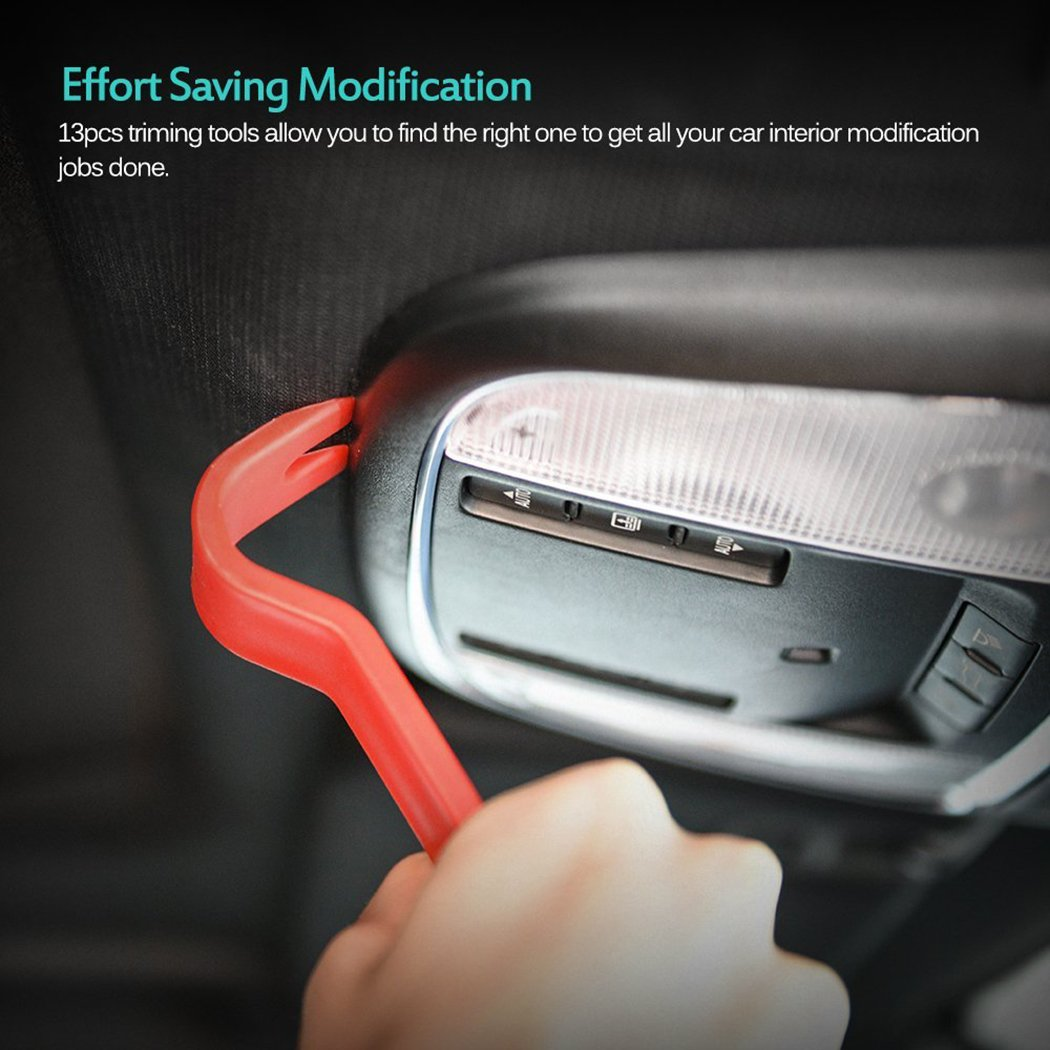 Hiapix 13 Pcs Auto Car Trim and Door Panel Removal Set Strong Nylon Window Molding Upholstery Fastener Clips Removers with Storage Bag