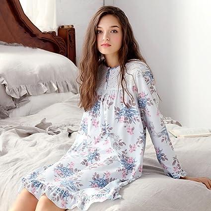 Camisón de manga larga de algodón para mujeres primavera y otoño pijamas de princesa retro ropa