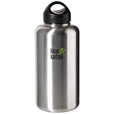 Klean Kanteen Wide Mouth Single Wall Stainless Steel Water Bottle with Leak Proof Stainless Steel Interior Cap - 40oz - Brushed Stainless