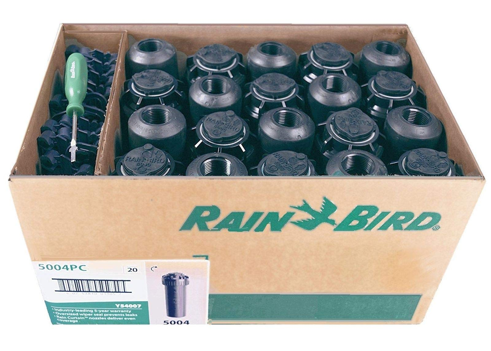 5000 Series Rotor Sprinkler Head - 5004 PC Model, Adjustable 40-360 Degree Part-Circle, 4 Inch Pop-Up Lawn Sprayer Irrigation System - 25 to 50 Feet Water Spray Distance (Y54007) (20 Pack Case) by Rain-bird