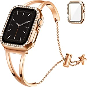 Recoppa Compatible with Apple Watch Band 42mm Series 3 2 1, Jewelry Bracelet Bangle Wristband and Bling Case with Tempered Glass Screen Protector for iWatch(Rose gold, 42mm)