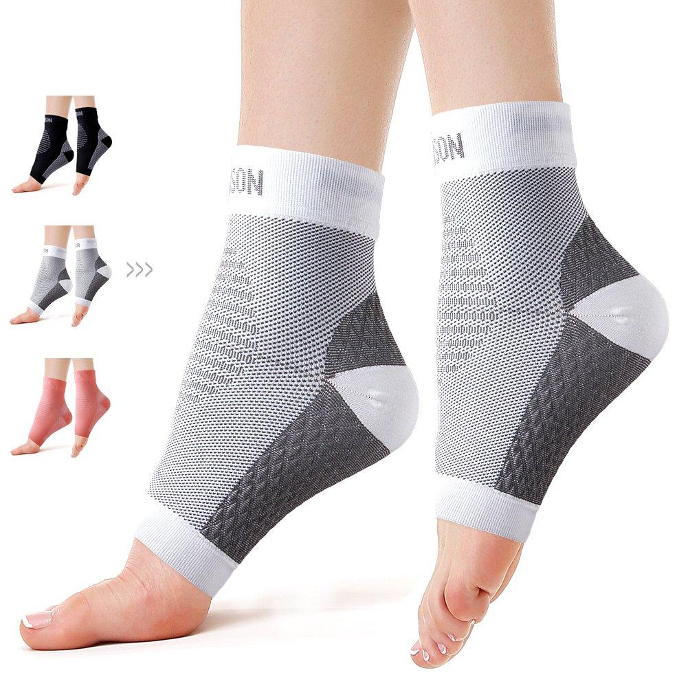 Plantar Fasciitis Sock Compression Foot Sleeves for Men & Women Increase Blood Circulation (White, Large)