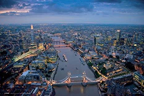 Pyramid America Jason Hawkes London Aerial View Photography Dusk Thames River Laminated Dry Erase Sign Poster 12x18 Posters Prints