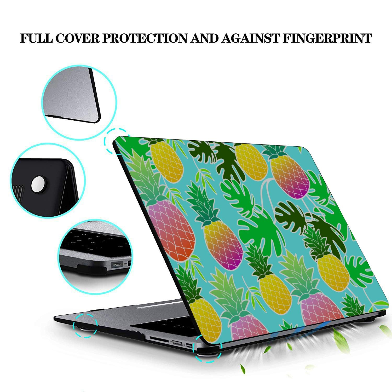 MacBook Pro Accessories Summer Sweet Cute Fruit Pineapple Plastic Hard Shell Compatible Mac Air 11 Pro 13 15 Mac Book Air Cover Protection for MacBook 2016-2019 Version