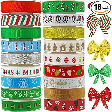 CHRISTMAS BOW /& RIBBON WRAPPING GIFT SET PRESENTS XMAS DECORATION COLOURS NEW