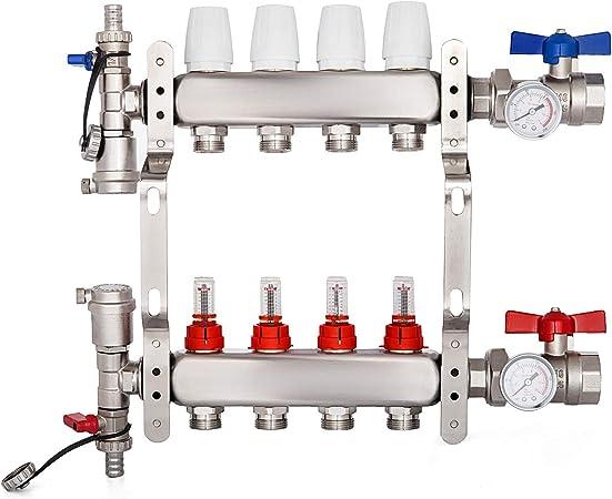 Sistema de Colector de Calefacci/ón de Piso de Acero Inoxidable de 4 Ramas Colector Suelo Radiante Calefacci/ón Set