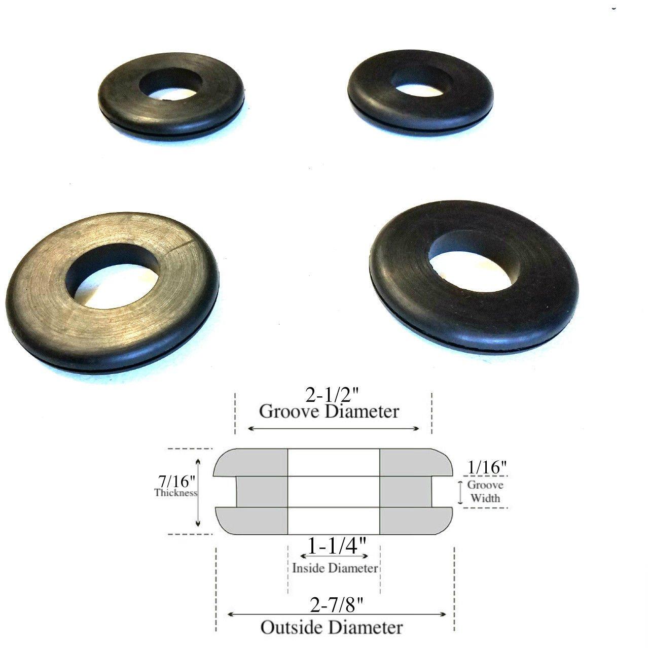 Fits 2-1//2 Holes Lot of 4 Rubber Grommets 1-1//4 Inside Diameter 1//16 Gw