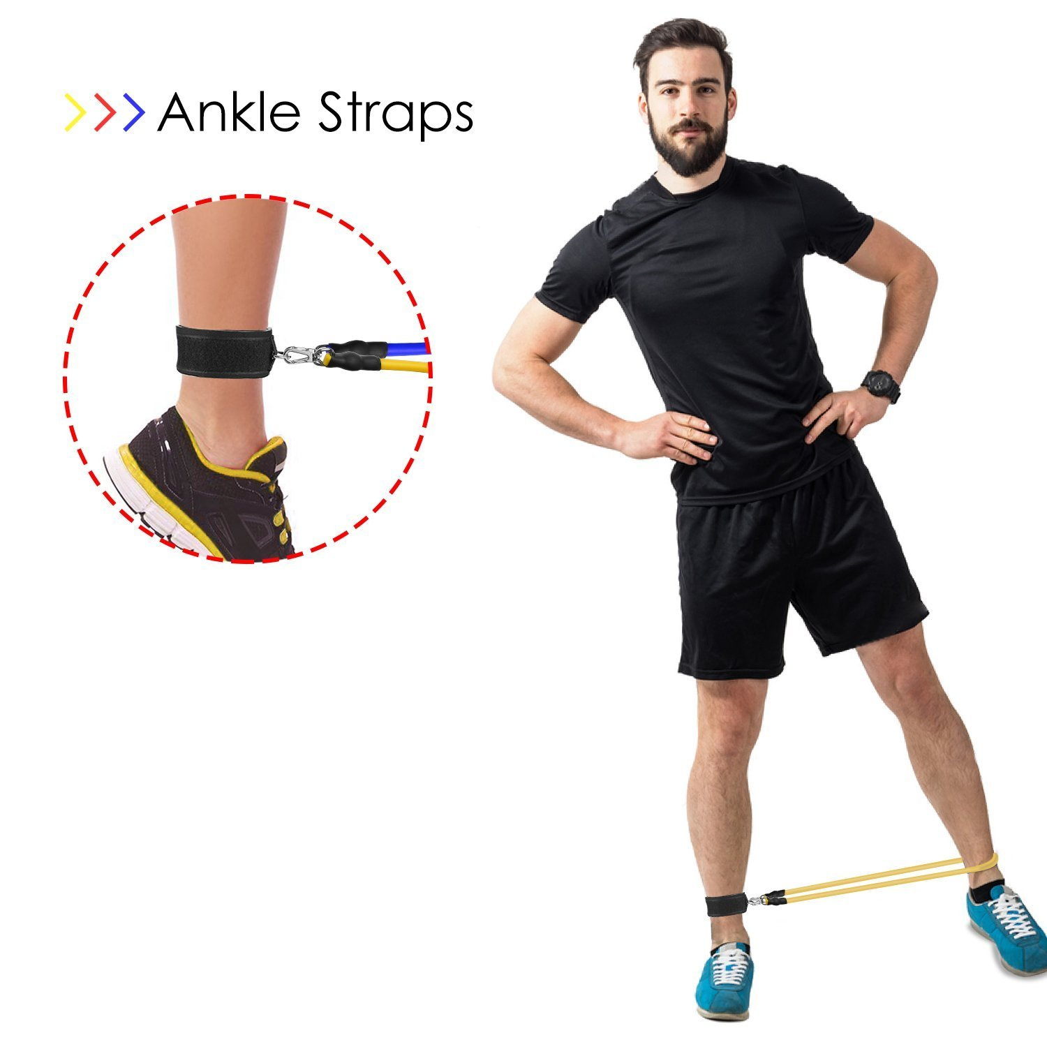 FITODO Resistance Band Strength Exercise Workouts PRO with Door Anchor//Ankle Straps//Handles//Carry Bag//Instruction Book for Total Body Exercise