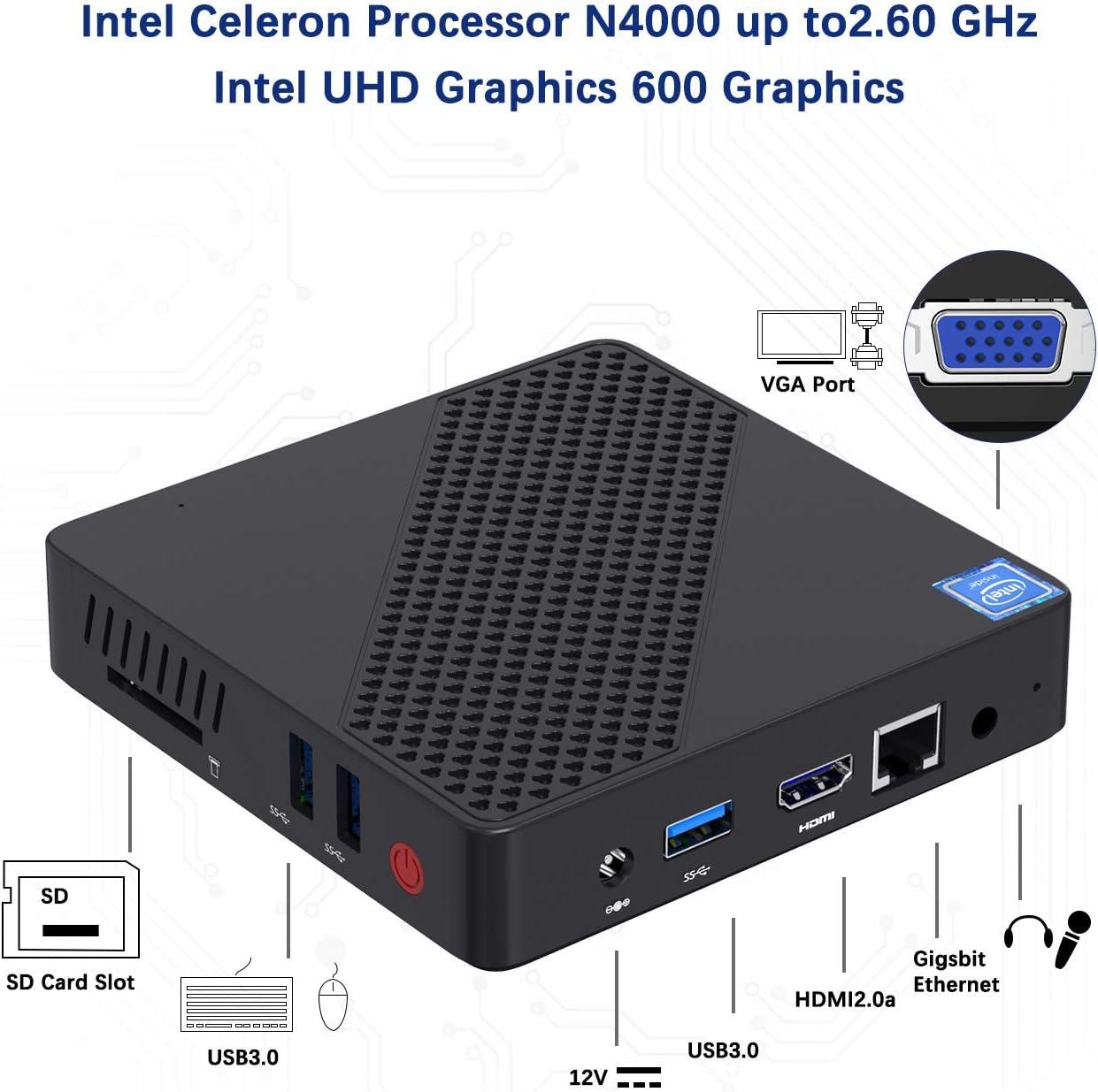 DDR4 4GB//64GB eMMC Mini PC Fanless UHD 4k@60Hz Auto Power On USB3.0 Mini Computer Support HDMI2.0a/&VGA 2.4//5.8G Wi-Fi Mini PC Intel Celeron N4000 DIY NGFF 2242 SSD up to 2.6GHz