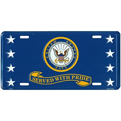 0fb0f195d49a U.S. Navy Metal Front License Plate Served with Pride for Retired Veteran