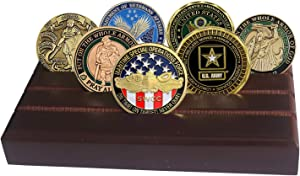 LZWIN 4 Rows Coin Holder, US Army Military Collectible Challenge Coin Display Case Wood Stand, Holds 12-16 Coins