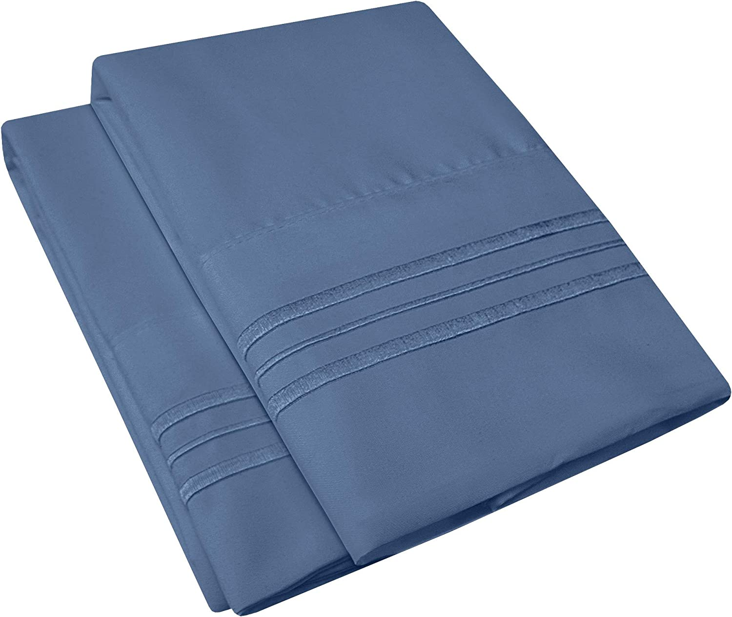 1500 Supreme Collection 2 Pack Bed Pillowcases - Luxury Embroidered Premium Softness and Wrinkle Resistant Breathable Additional Pillowcases for Bed Sheets - King, Denim