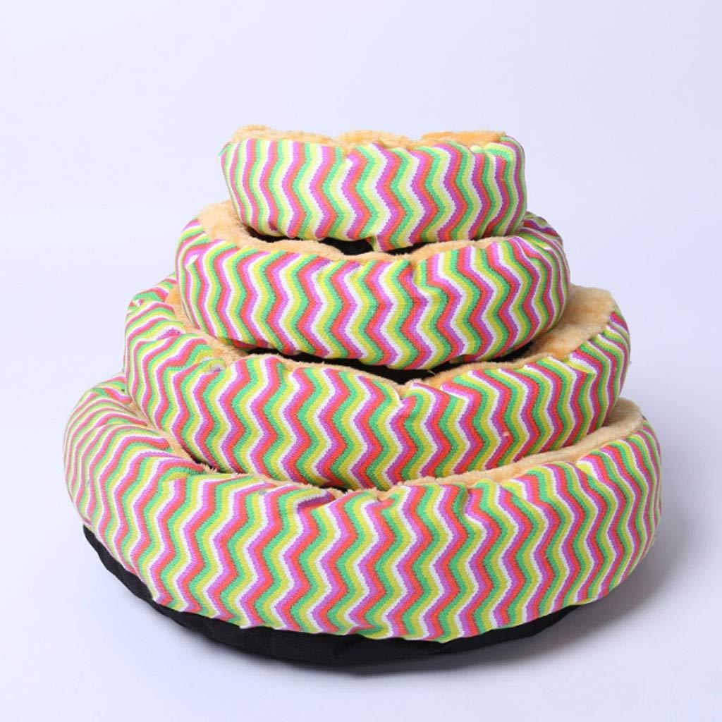 color Bar Barry-L Dog Bed Cat Bed Four-piece Pet Supplies Kennel Pet Nest Dog Bed Non-slip Utility Pet Bed (color   color bar)