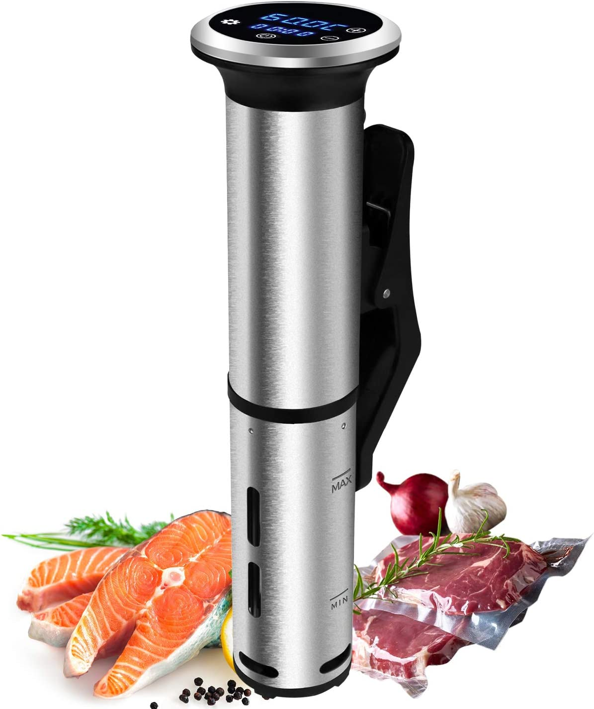 Biolomix Sous Vide Cooker, LED Thermal Immersion Circulator for Kitchen,1000 Watts,Stainless Steel IPX7 Waterproof,Precise Timer & Temperature,Water Level Protection Alarm,Touch Screen