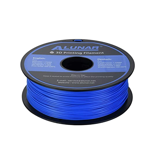 ALUNAR-3D Filamento PLA 1,75MM 1KG Degradable Segura, Azúl: Amazon ...