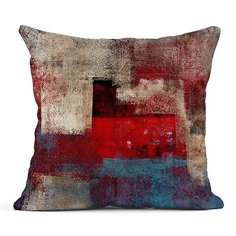 Kinhevao Cojín Marrón Negro Beige y Rojo Pintura Abstracta ...