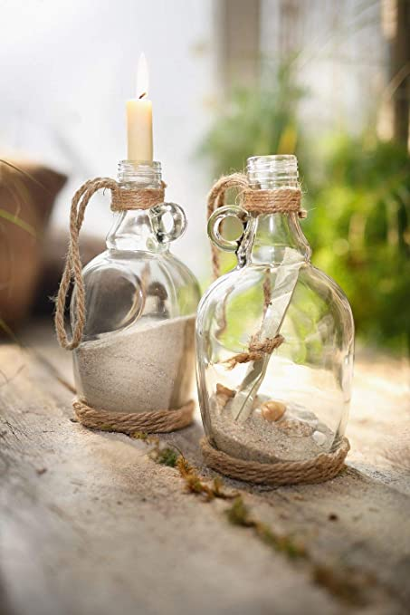 Serie 2 botellas de decoración, vidrio transparente con pequeña asa decorado de cordel de yute: Amazon.es: Hogar