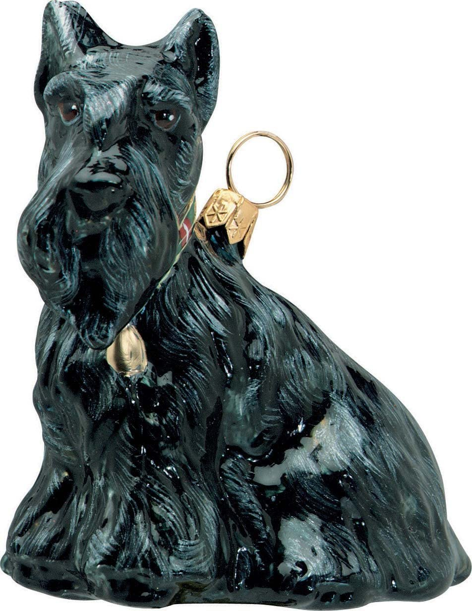 Joy to the World Collectibles European Blown Glass Pet Ornament, Scottish Terrier Sitting