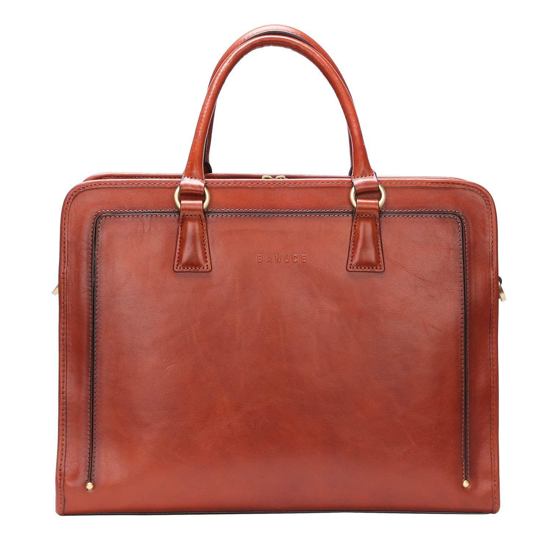 Banuce Womens Full Grains Leather Briefcase Business Satchel Bag for 14 Laptop Attache Case Brown
