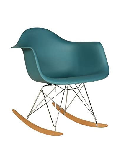 Stilnovo Adult Mid Century Rocking Chair With Arms U0026 Ash Wood Sleighs, Navy  Green