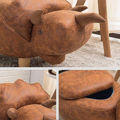 JOYBASE Cute Animal Storage Ottoman, Footrest Stool, Ride on Seat, Storage Dinosaur