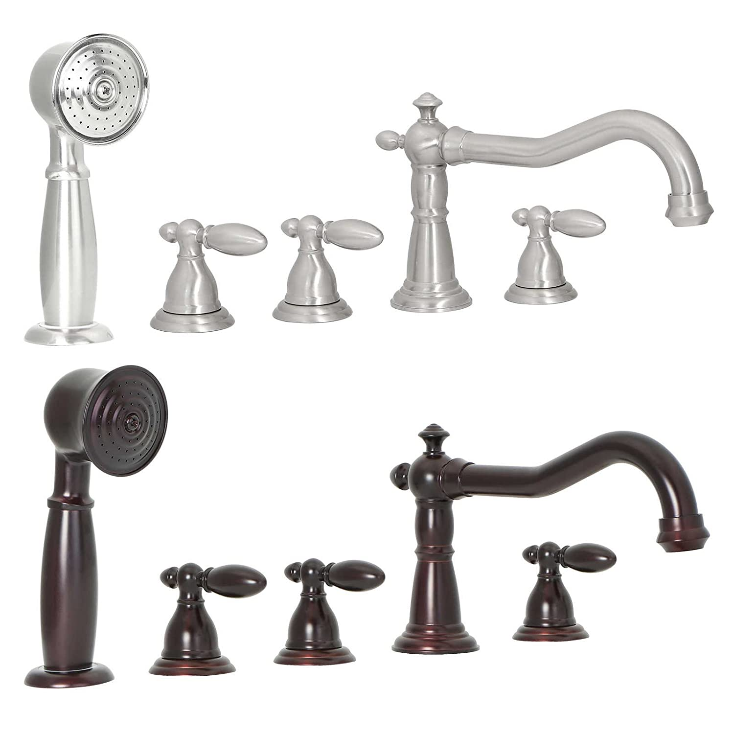 FREUER Bellissimo Collection: Handshower Roman Tub Faucet, Brushed ...