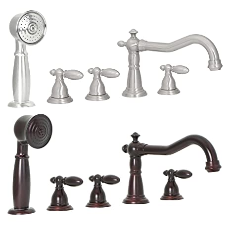 FREUER Bellissimo Collection: Handshower Roman Tub Faucet, Brushed Nickel