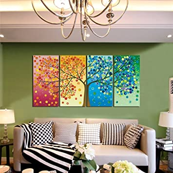 GEVES Framed 4 Panels Colorful Seasons Tree Of Life Canvas Print Paintings  Wall Art Giclee Picture