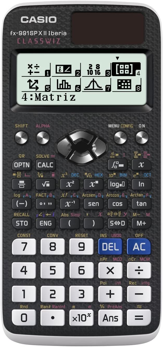 Casio FX-991SPX II - Calculadora científica, Recomendada para el curriculum español y portugués, 576 funciones, Solar y color gris /blanco