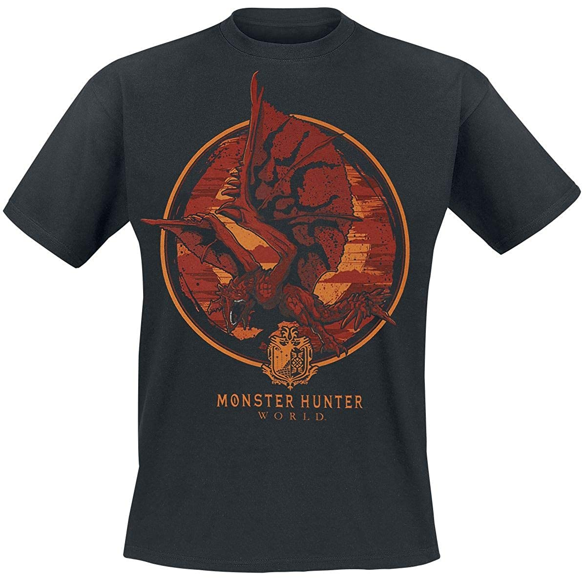 TALLA M. Monster Hunter World - Screaming Rathalos Camiseta Negro