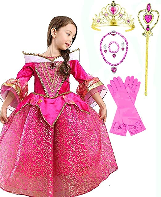 12dfbe3fb0 Amazon.com  Princess Aurora Deluxe Pink Party Dress Costume  Clothing