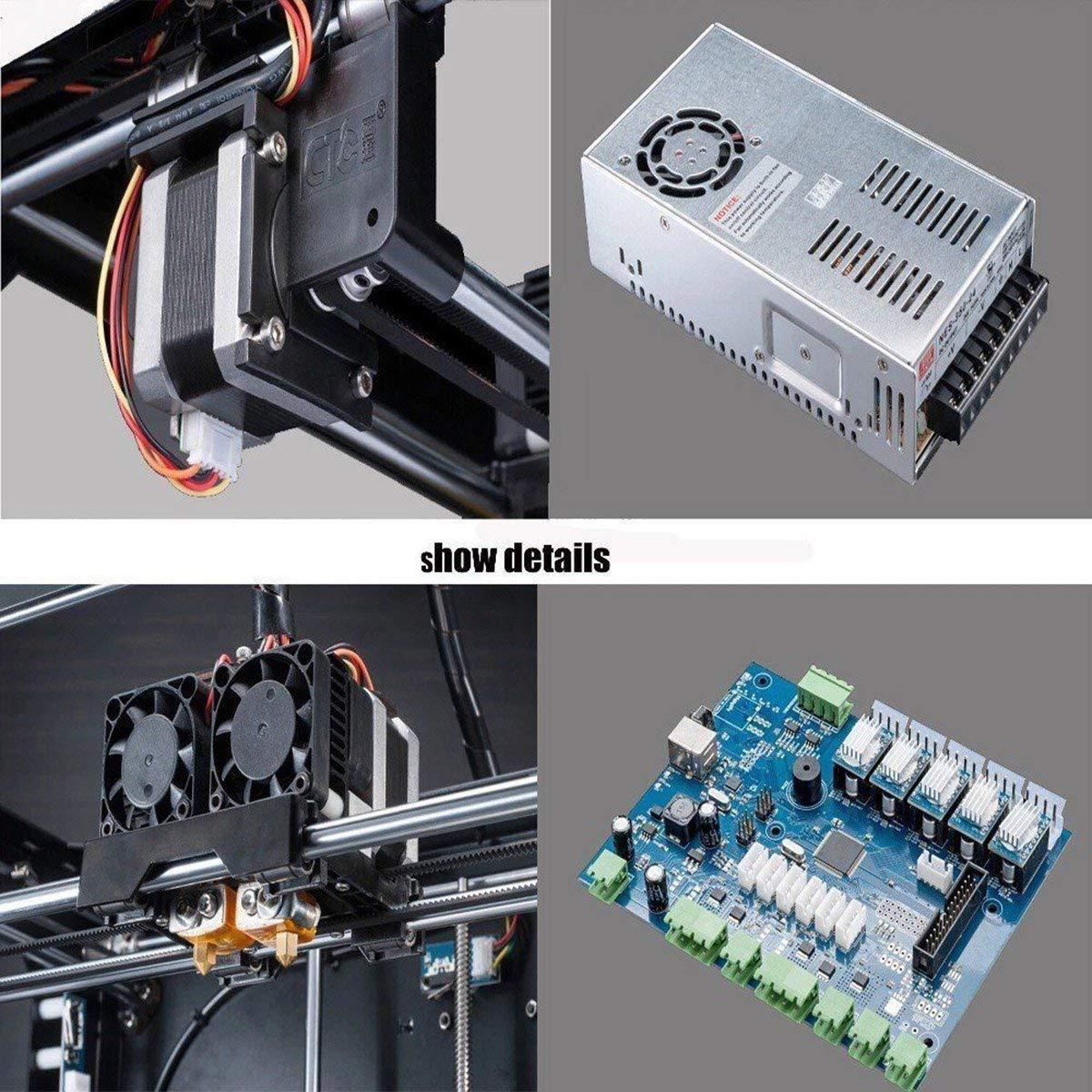 Bobine ABS//PLA 1,75 MM Imprimante 3D FDM,CTC de Bureau Plug and Play Double extrudeuse MK8 optimis/ée assembl/ée Taille du b/âtiment 225 /× 145 /× 150 mm Construction de Haute pr/écision