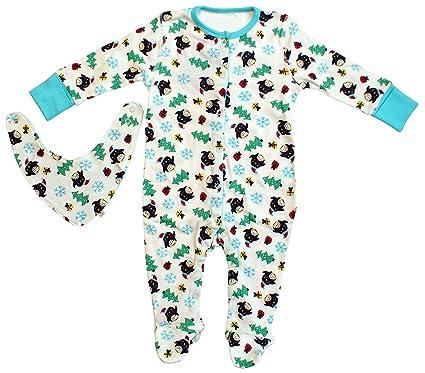f7a0d4df6 Baby Xmas Penguin Sleepsuit   Bib Cotton Set Sizes from Newborn to ...