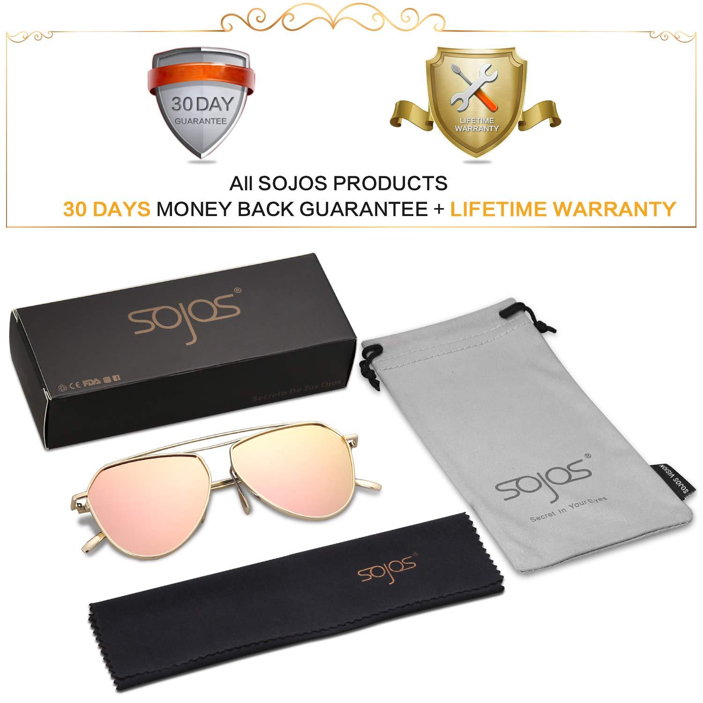 SojoS Aviator Mirrored Lens Sunglasses Classic Metal Double Bridge Glasses SJ1040