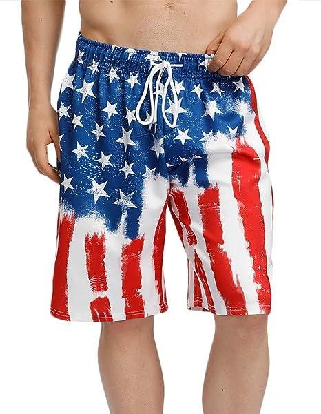 2f5c48a19b BesserBay Mens 4th of July Shorts US Flag Board Shorts July 4th Swim Trunk  Flag Boardshorts