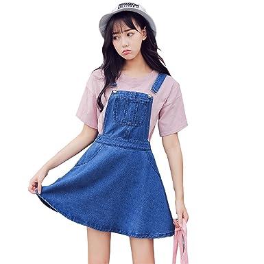 1b971ab76e7 TOPJIN Women s A Line One Piece Denim Suspender Overall Dresses Jeans  Jumper Dress S