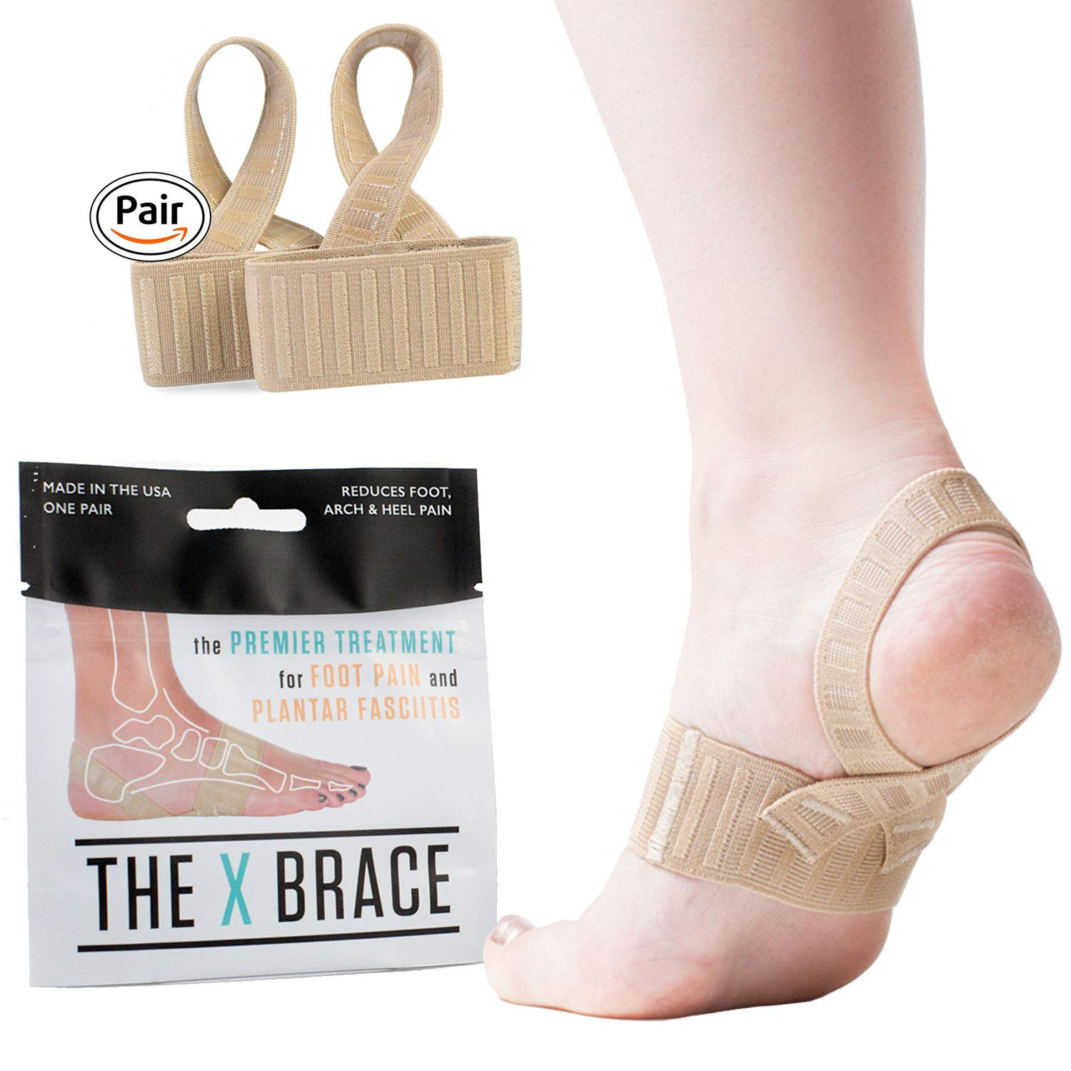 The ORIGINAL X Brace for Foot Pain - LOGO FREE - All Day Treatment for Plantar Fasciitis, Sever's Disease & Heel Pain with Gentle Arch Support. ((3) SMALL, Biege)