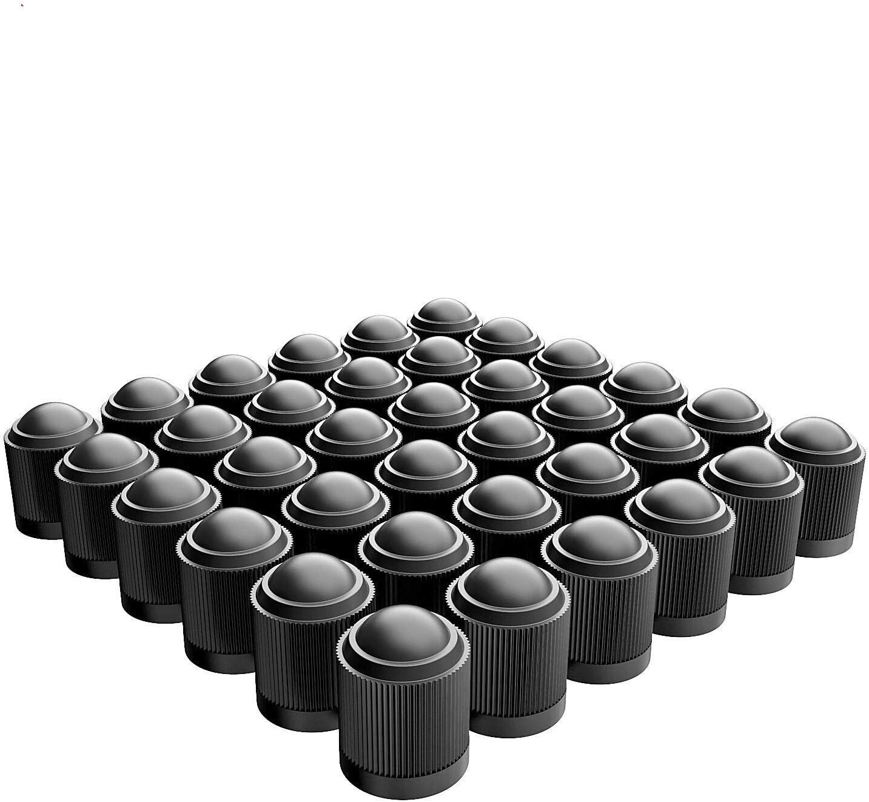 PPpanda Valve Dust Caps,Tire Caps Valve Stem Caps Tyre Valve Dust Caps Dustproof Tire Cap for Car, Motorbike, Trucks, Bike and Bicycle(ONLY Schrader Valve) 36pcs,Black