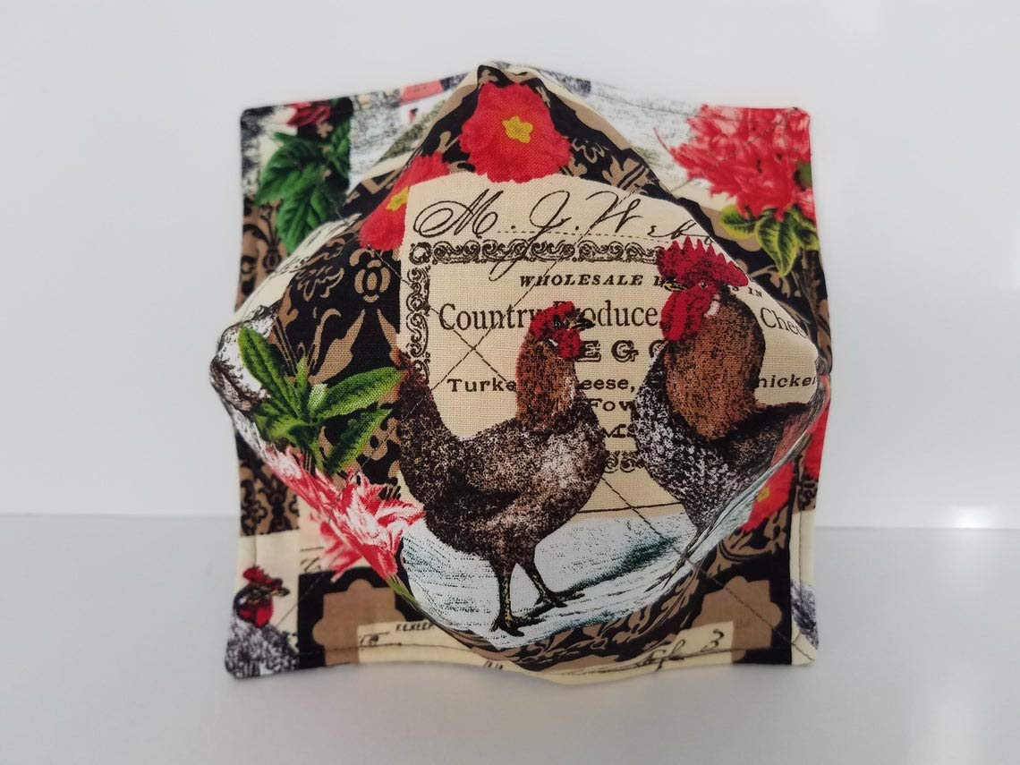Roosters Reversible Quilted Bowl Cozy Holder Housewarming Gift Bowl Buddies Microwavable Soup Bowl Cozy