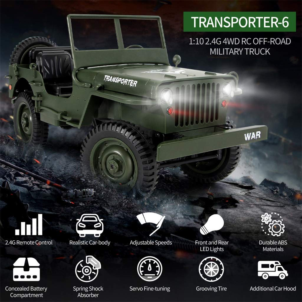 1:10 2.4Ghz 4WD Off-Road Military Truck RC Hobby Toys Open Off Road Crawler Rechargeable Army Car Rock Crawler 1/10 Scale Electric Racing Car for Kids & Adults by DaoAG (Image #4)