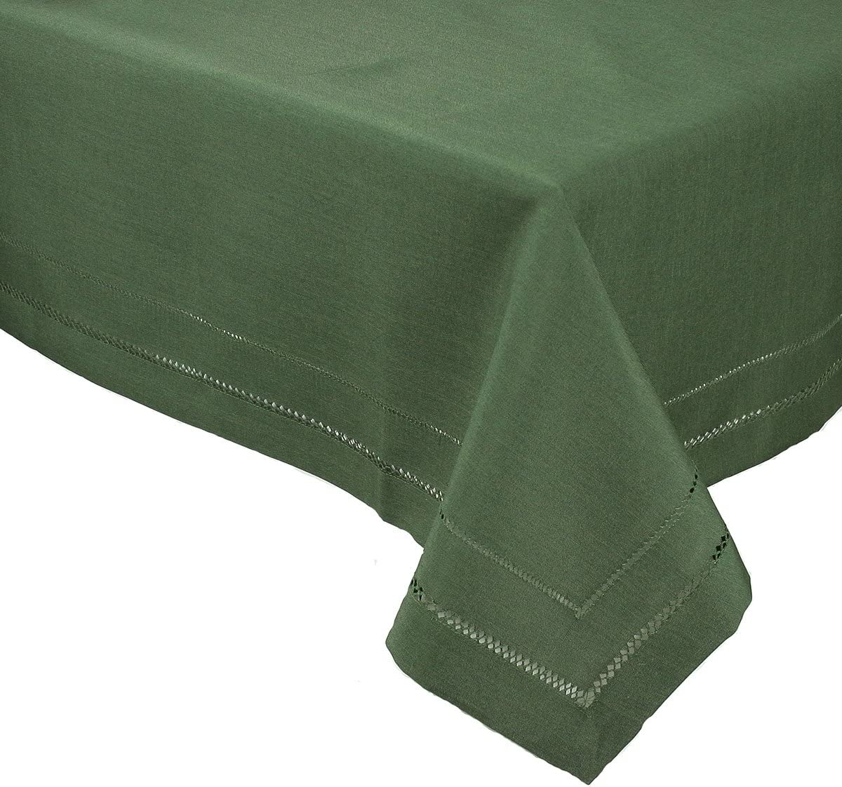 Xia Home Fashions Double Hemstitch Easy Care Tablecloth, 65 by 140-Inch, Pine
