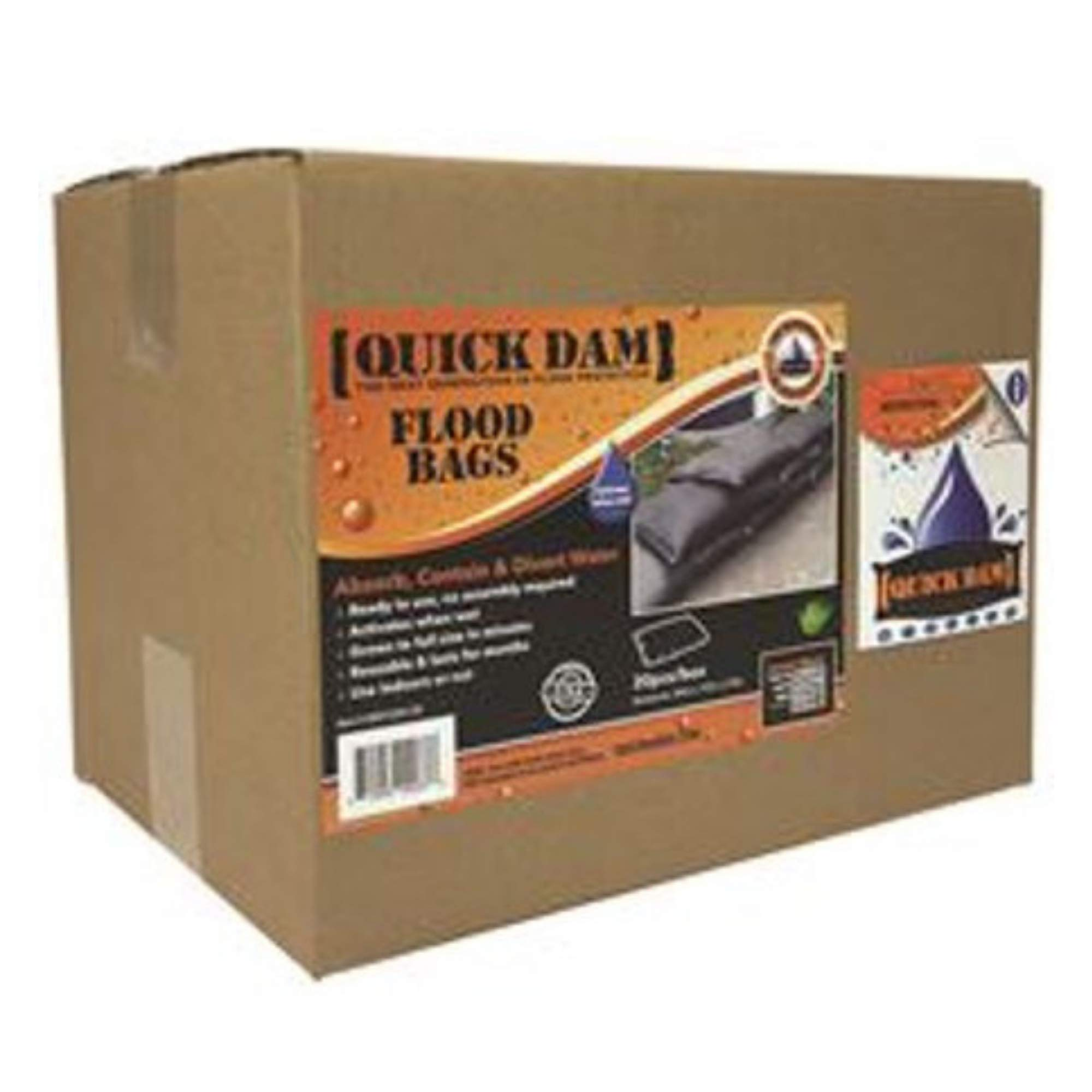 Quick Dam Expanding Sandless Sandbag, 12'' X 24'', 20 Bags per case
