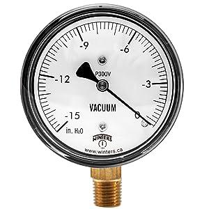 """Winters PLP Series Steel Low Pressure Gauge with Brass Internals, 0-15"""" Water Vacuum, 2-1/2"""" Dial Display, +/- 3-2-3% Accuracy, 1/4"""" NPT Bottom Mount"""