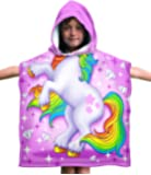 Dawhud Direct Kids Cotton Hooded Poncho Bath/Beach Towel (Unicorn)
