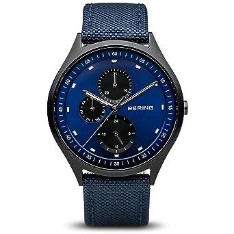 BERING Reloj Analógico para Hombre de Cuarzo con Correa en Tela 11741-827: Amazon.es: Relojes